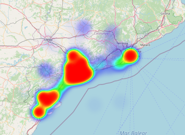 Mapa de calor de les meves estades: Catalunya