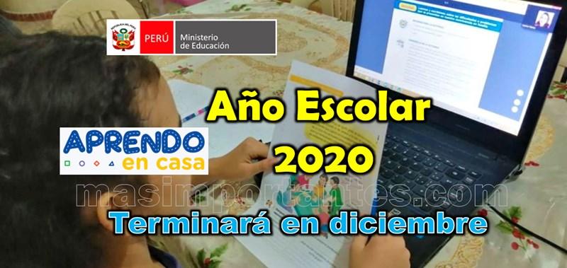 Año escolar 2020 terminará en diciembre | MINEDU