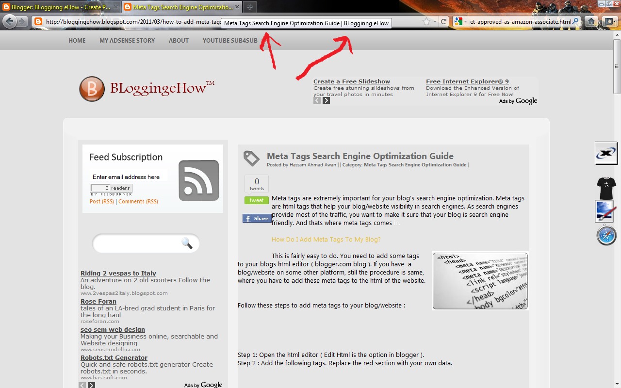 Add Meta tags to Blogger Blog for Better SEO