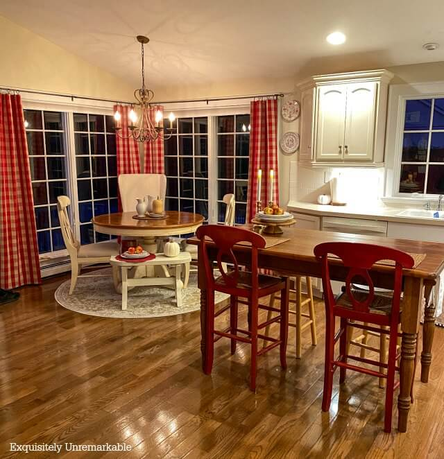 Red and White Curtains In Kitchen