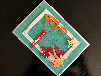 Hand Made Card with Die Cut Seahorse and Embossed Background