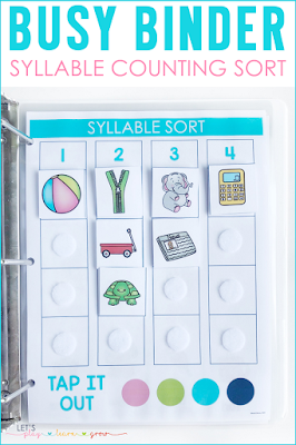 Syllable Sort Busy Binder Activity
