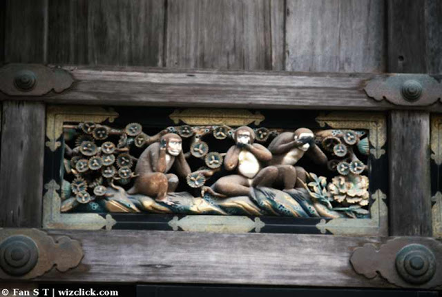 "See no evil, hear no evil, speak no evil"" or ""mizaru, kikzaru, Iwazaru"" the sanzaru or the three wise monkeys"