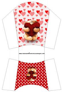 Teddy Bear in Love Free Printable Fries Box.