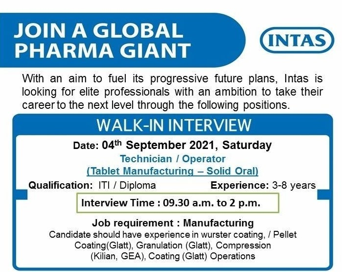 Recruitment 2021 For ITI and Diploma Candidates in Intas Pharmaceuticals Ltd Sanand, Gujarat