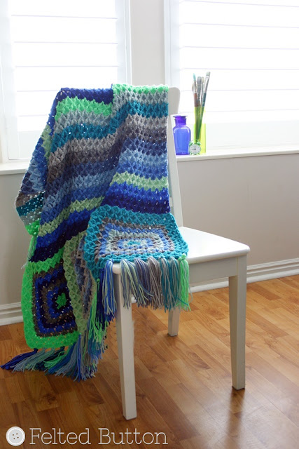 Parrotlet's Flight Blanket crochet pattern by Susan Carlso of Felted Button