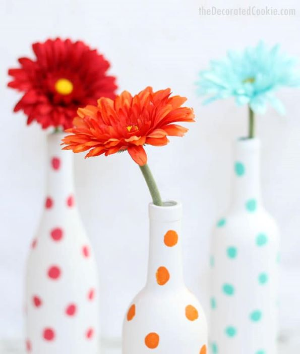 These easy DIY painted wine bottles make a great gift or brighten any home