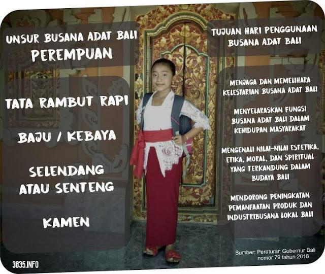 Unsur Busana Adat Bali Untuk Perempuan