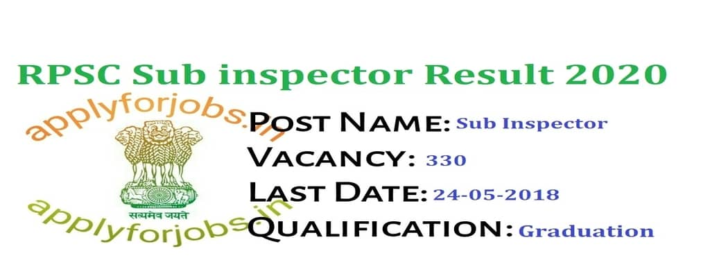 RPSC Result 2020 Out for SI and Platoon Commander, apply for jobs