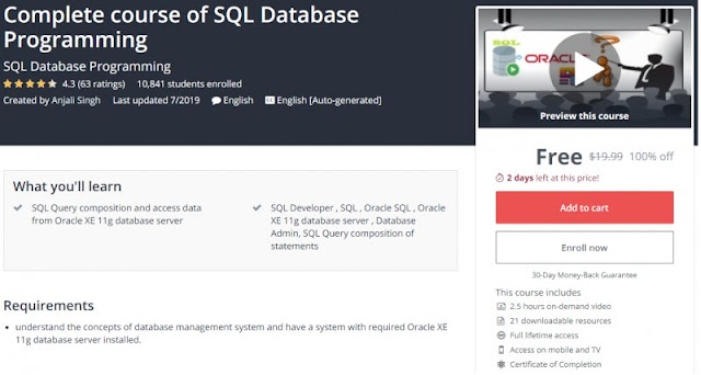 [100% Off] Complete course of SQL Database Programming| Worth 19,99$