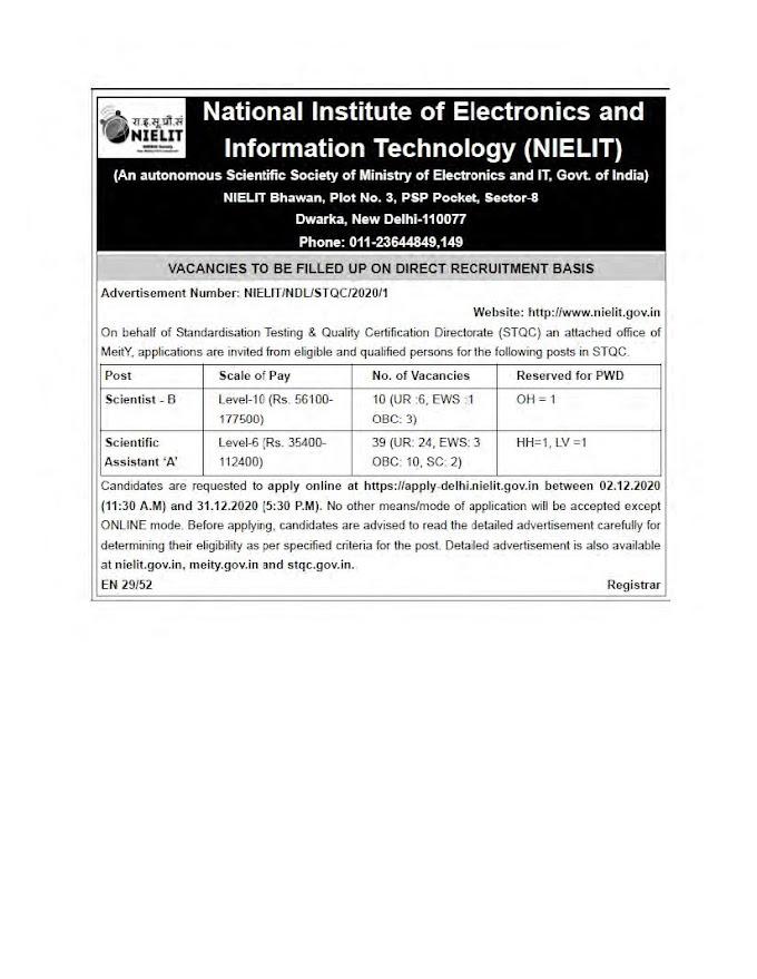 NIELIT Recruitment 2020 Scientist B & Scientific Assistant – 49 Posts nielit.gov.in Last Date 31-12-2020