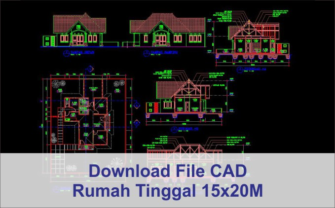 download rumah 15x20 File AutoCad