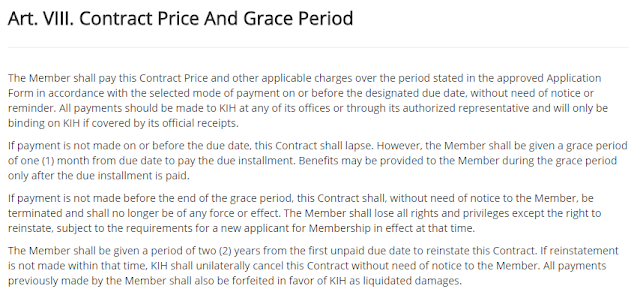 Kaiser Policy Article VIII: Contract Price and Grace Period