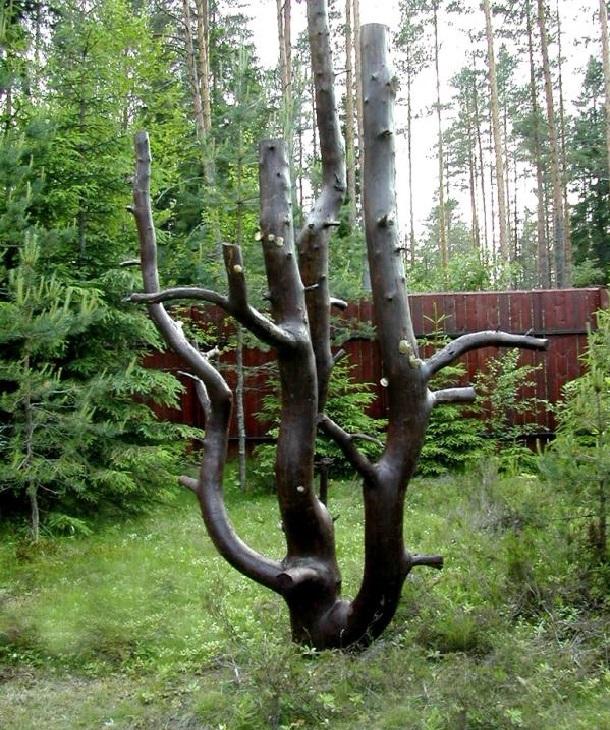Декор из строго дерева в саду