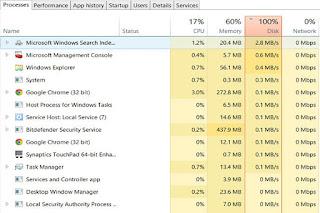 حل مشكلة استخدام القرص في إدارة المهام 100% 99% disk usage in Task Manager