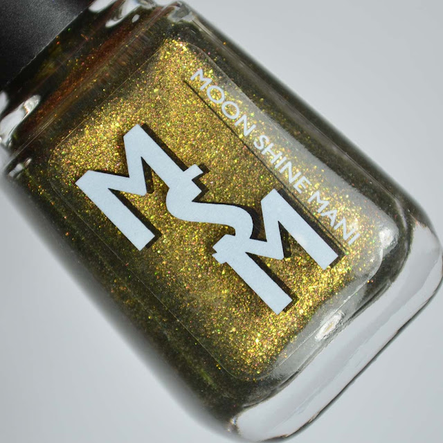olive microflake nail polish in a bottle