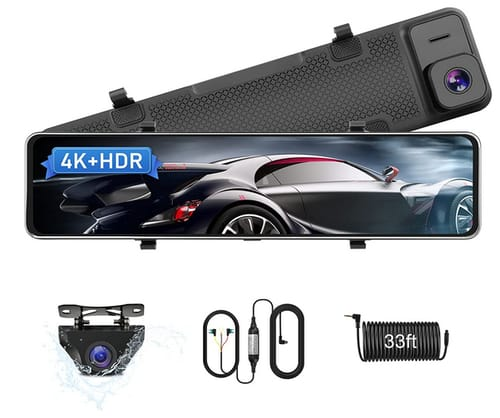 Jansite Newest 4K UHD Mirror Dash Cam Front and Rear