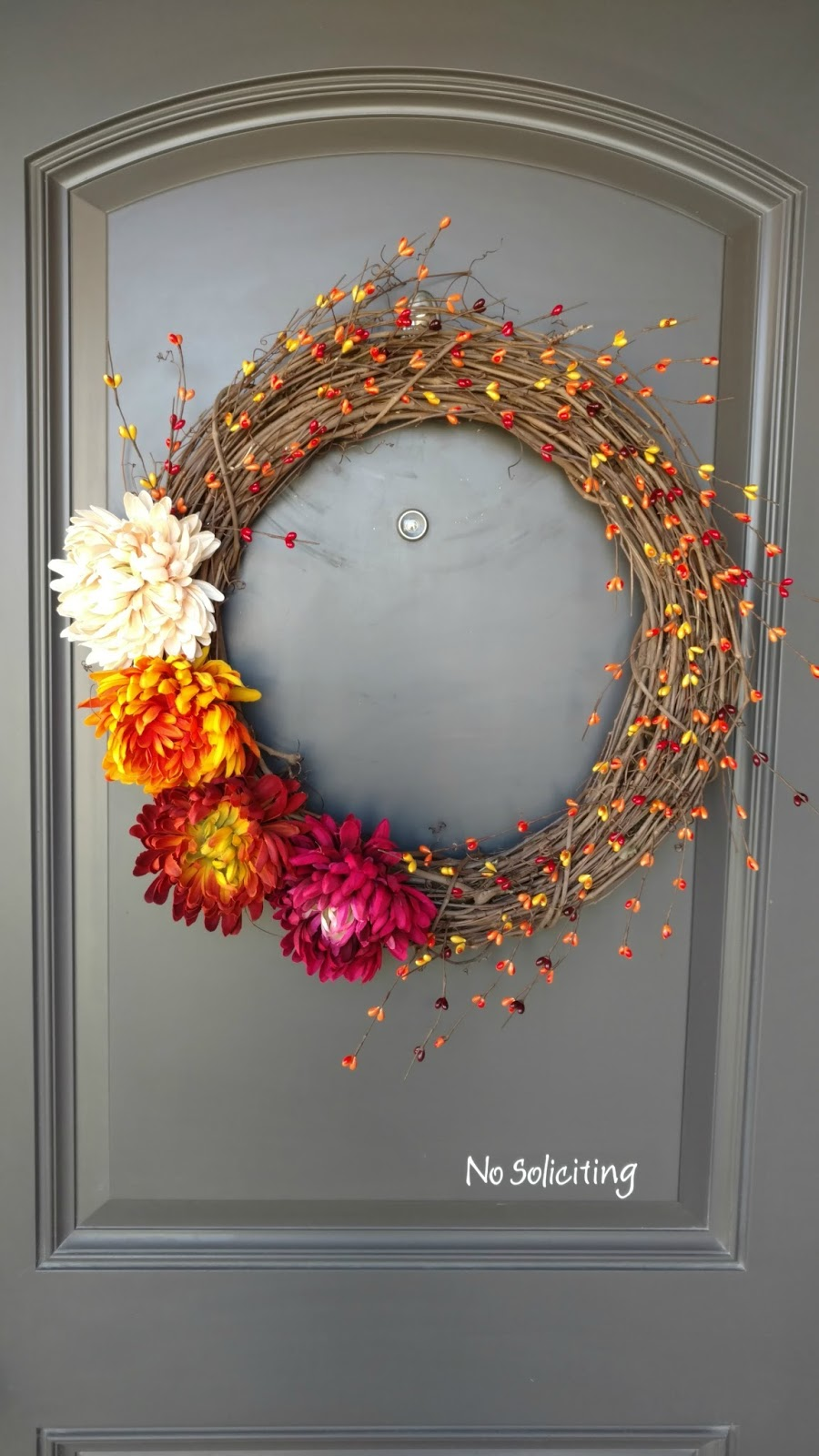 Pretty fall wreath with flowers