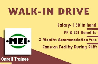 ITI Diploma Job Walk In Drive For Madras Engineering Industries Private Limited