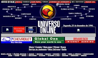 Imagem da primeira página inicial do UOL, na época chamado de Universo Online. Antigamente os links para as áreas do site ficavam espalhados em torno do logotipo do site, e nem exibia notícias na home-page.