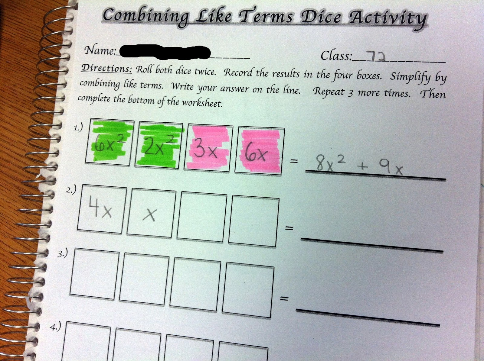 Combining Like Terms Worksheets Middle School - Proga | Info