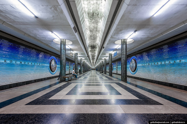 "4.""Cosmonauttlar"" (translated from Uzbek - cosmonauts) is a station on the Uzbekistan line, until 1991 it was called the ""Cosmonaut Avenue."" The interior is made in blue, blue and white colors. Under the ceiling of the station there is a luminous row of lamps, which symbolizes the Milky Way."