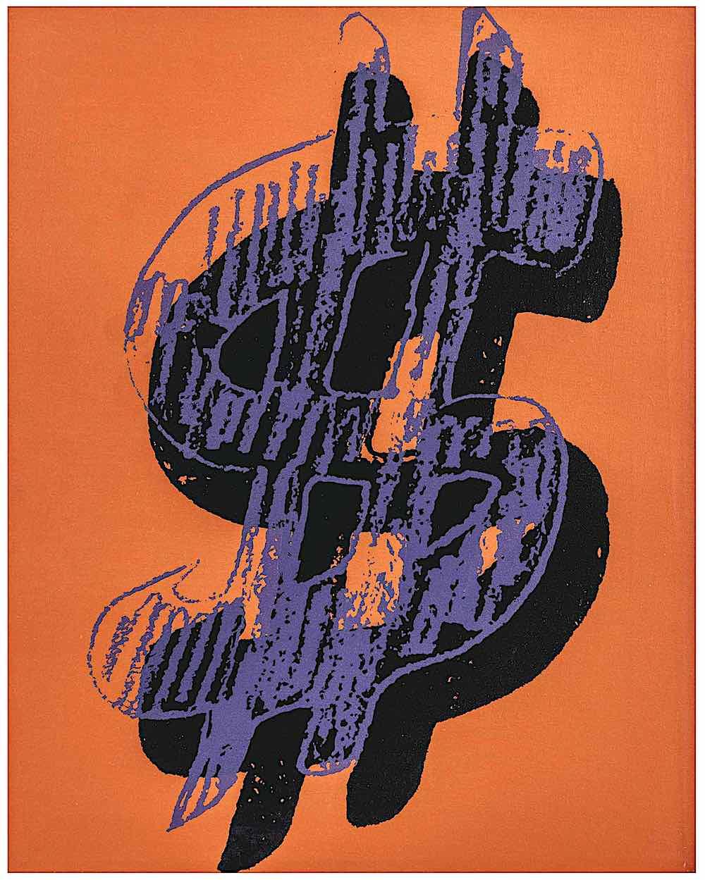 an Andy Warhol print of a dollar symbol in purple black and orange