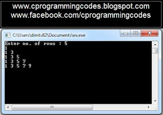 Output of odd number pyramid C program