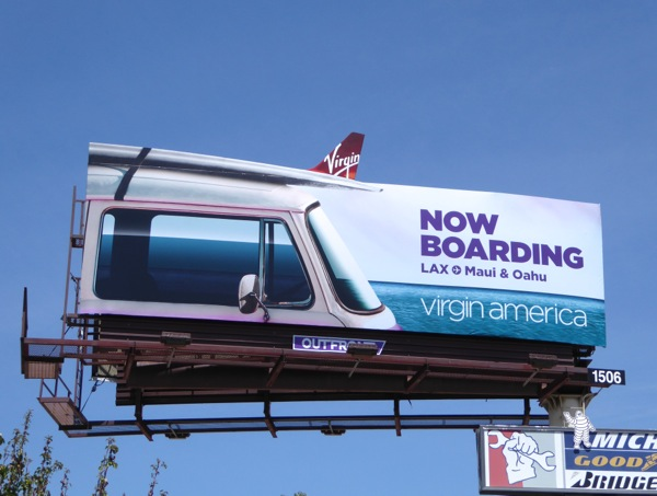 Virgin America Now boarding cut-out extension billboard