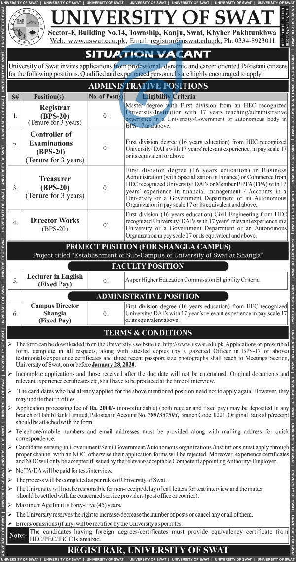 Jobs in University of Swat 2020 Latest advertisement