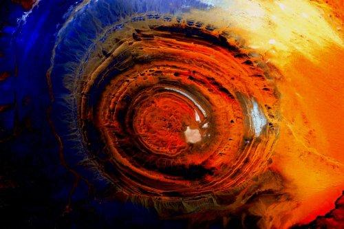 eye of sahara, eyeball of earth, desert, Guelb er Richat
