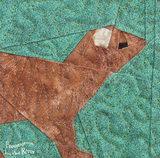 Closeup of a paper pieced Mink