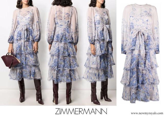 Princess Madeleine wore ZIMMERMANN Cornflower-print tiered dress