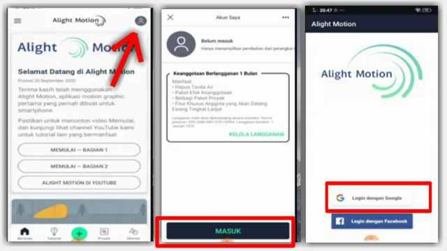 cara berlangganan aplikasi Alight Motion Pro atau Premium