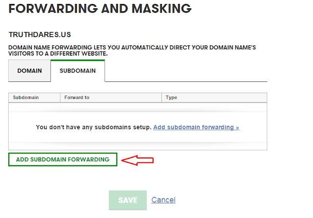 forwarding and masking of subdomain