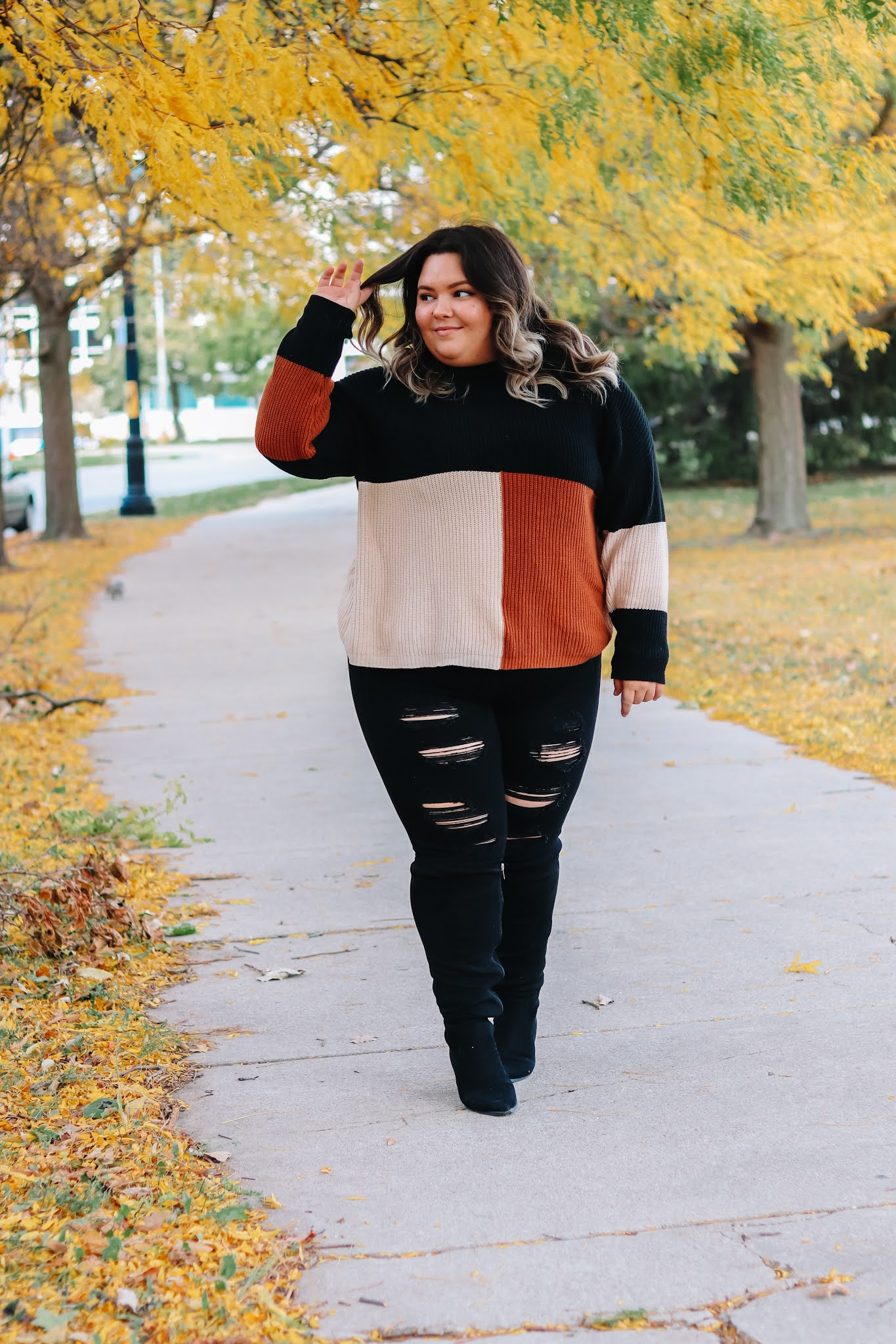 Chicago Plus Size Petite Fashion Blogger Natalie in the City knee high wide calf boots