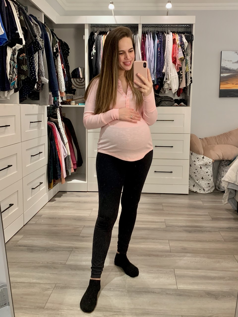 Jules in Flats - Pink Ribbed Henley with Leggings (Business Casual Workwear on a Budget)  WFH Outfit