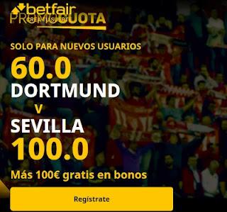 betfair promocuota Dortmund vs Sevilla 9 marzo 2021