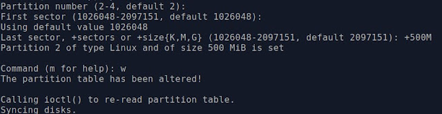 creating partititon with fdisk commands