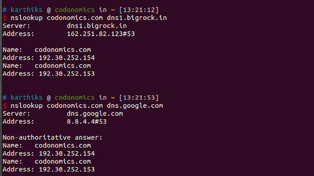 Doing nslookup for a domain against DNS server