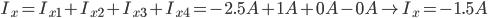 I_x = I_ {x1} + I_ {x2} + I_ {x3} + I_ {x4} = - 2,5A + 1A + 0A-0A \ à I_x = -1,5A