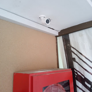 Hikvision bullet camera installed over fire hose cabinet