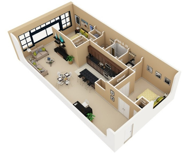Gambar Denah Rumah Minimalis 2 Kamar yang lagi Trend