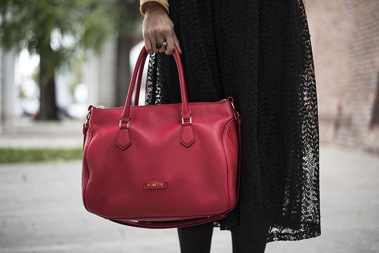 Skinny Buddha lace midi skirt Musette red bag