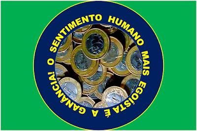 A imagem de fundo verde e ao centro um círculo em volta a frase: o sentimento humano mais egoísta é a ganância.
