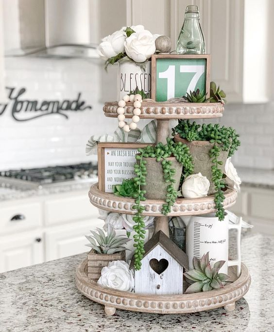 Tiered tray in white kitchen with springtime decor