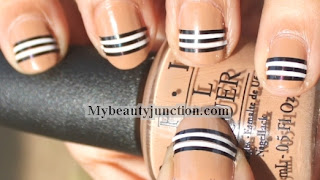 Burberry nail art: Striping tape manicure tutorial for beginners
