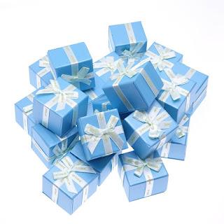 "Подарочная коробочка под кольцои серьги ""Jewelry голубая"" box15"