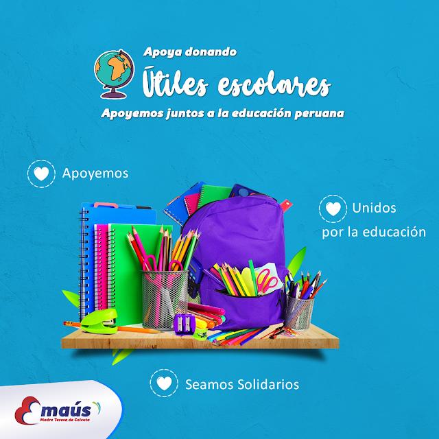 Dona útiles escolares en Lima