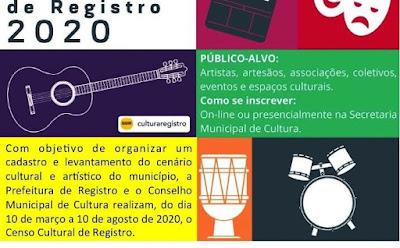 Inscrições para o Censo Cultural de Registro-SP foram prorrogadas até 10 de agosto
